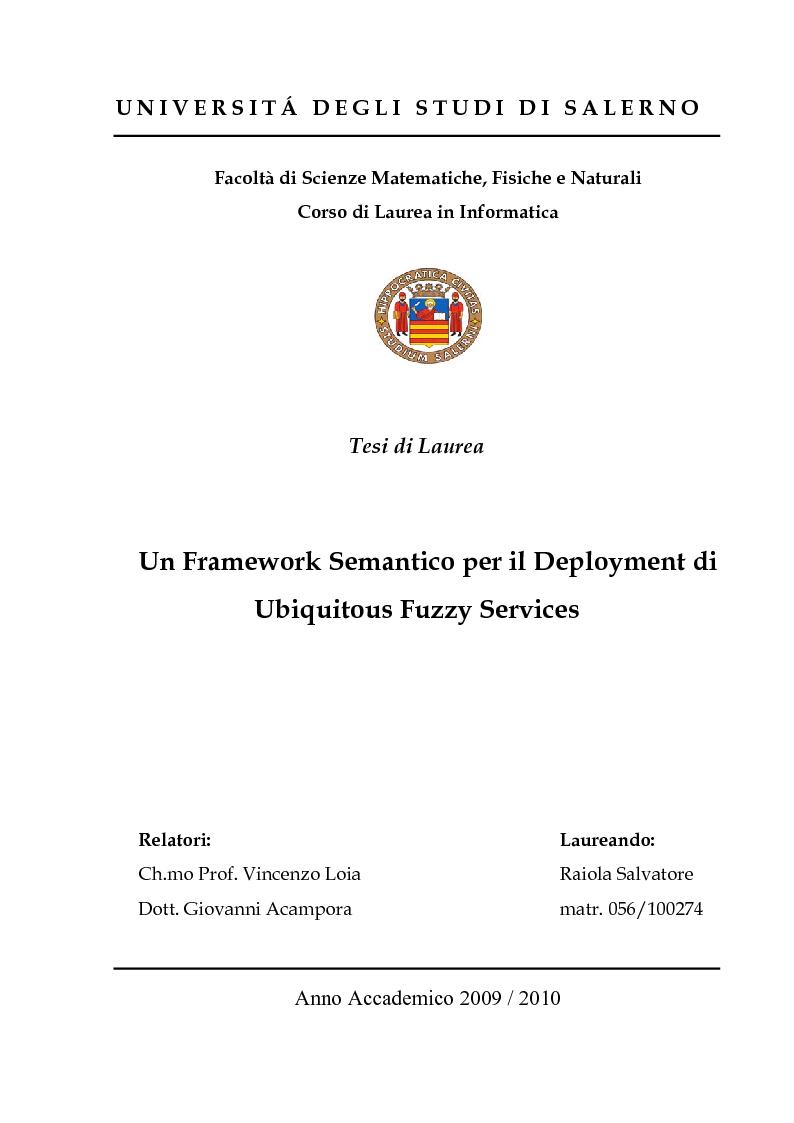 Anteprima della tesi: Un Framework Semantico per il Deployment di Ubiquitous Fuzzy Services, Pagina 1