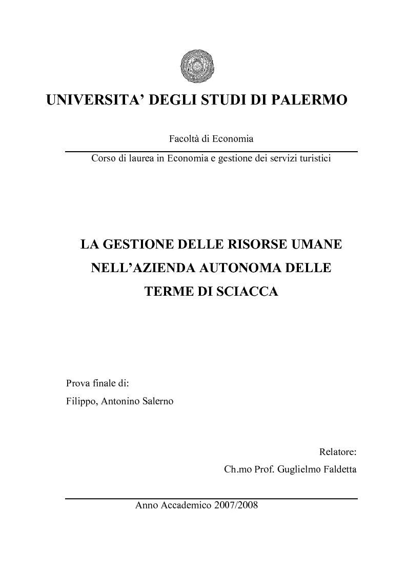 Anteprima della tesi: La gestione delle risorse umane nell'azienda autonoma delle Terme di Sciacca, Pagina 1
