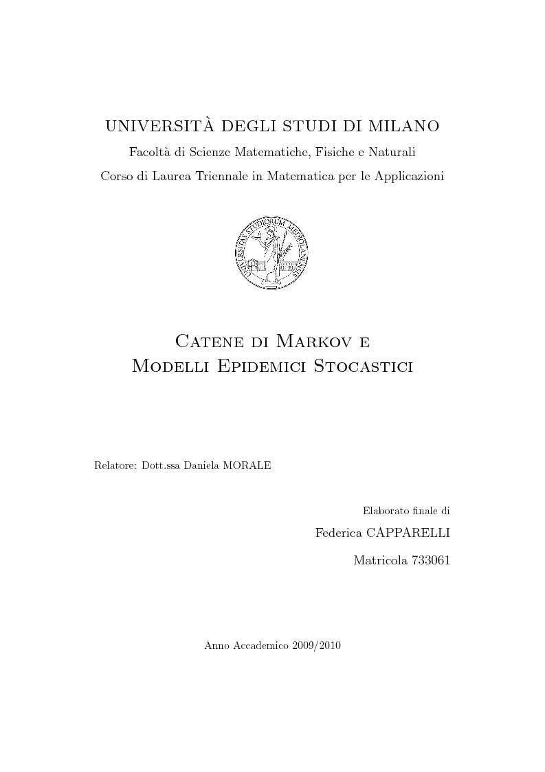 Anteprima della tesi: Catene di Markov e processi epidemici stocastici, Pagina 1