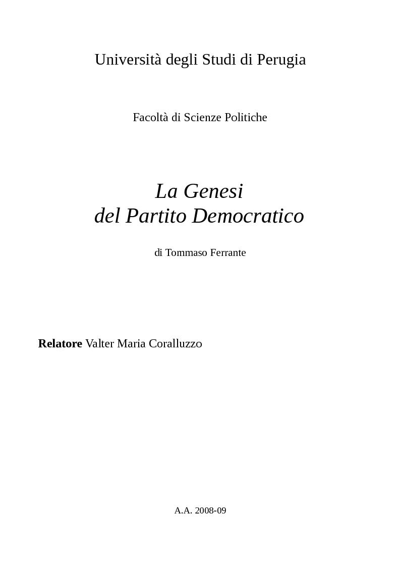 Anteprima della tesi: La Genesi del Partito Democratico, Pagina 1