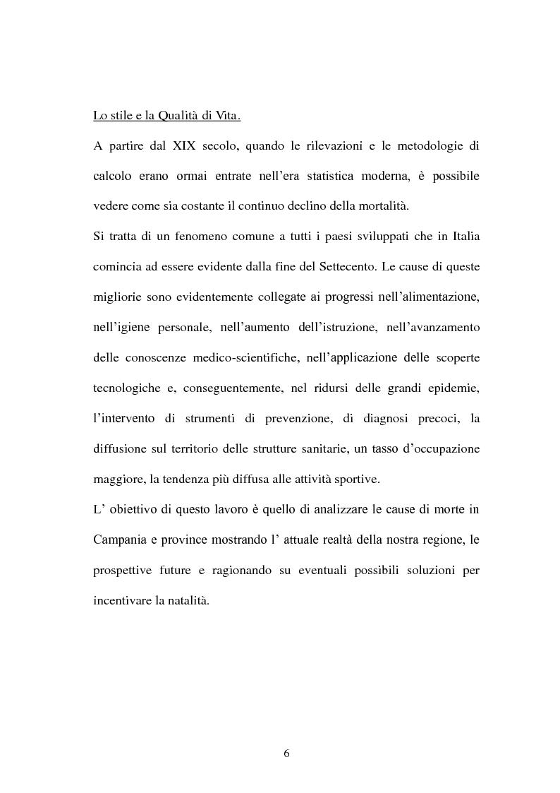 Anteprima della tesi: Soppravivenza e cause di morte in Campania e Provincia, Pagina 7