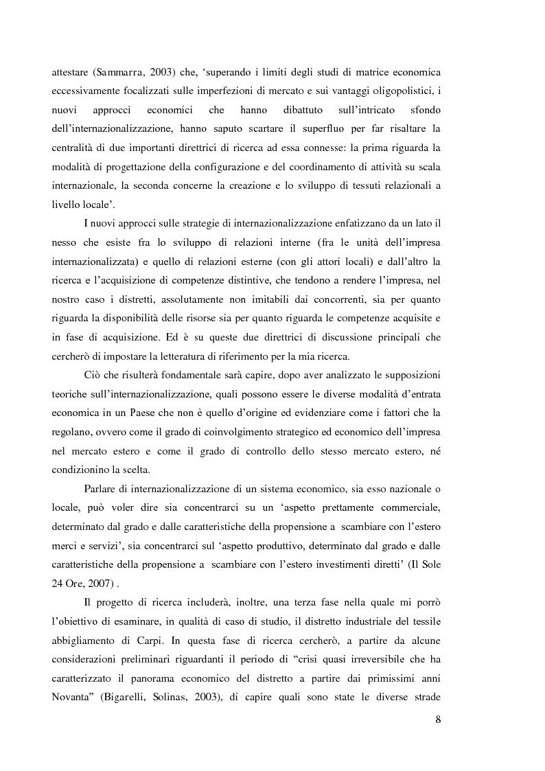 Anteprima della tesi: L'internazionalizzazione dei distretti industriali: il caso del tessile abbigliamento di Carpi, Pagina 6