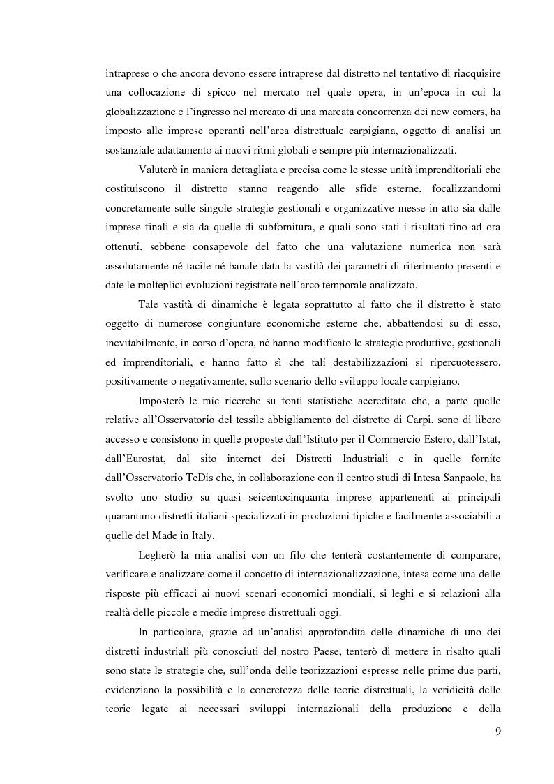 Anteprima della tesi: L'internazionalizzazione dei distretti industriali: il caso del tessile abbigliamento di Carpi, Pagina 7