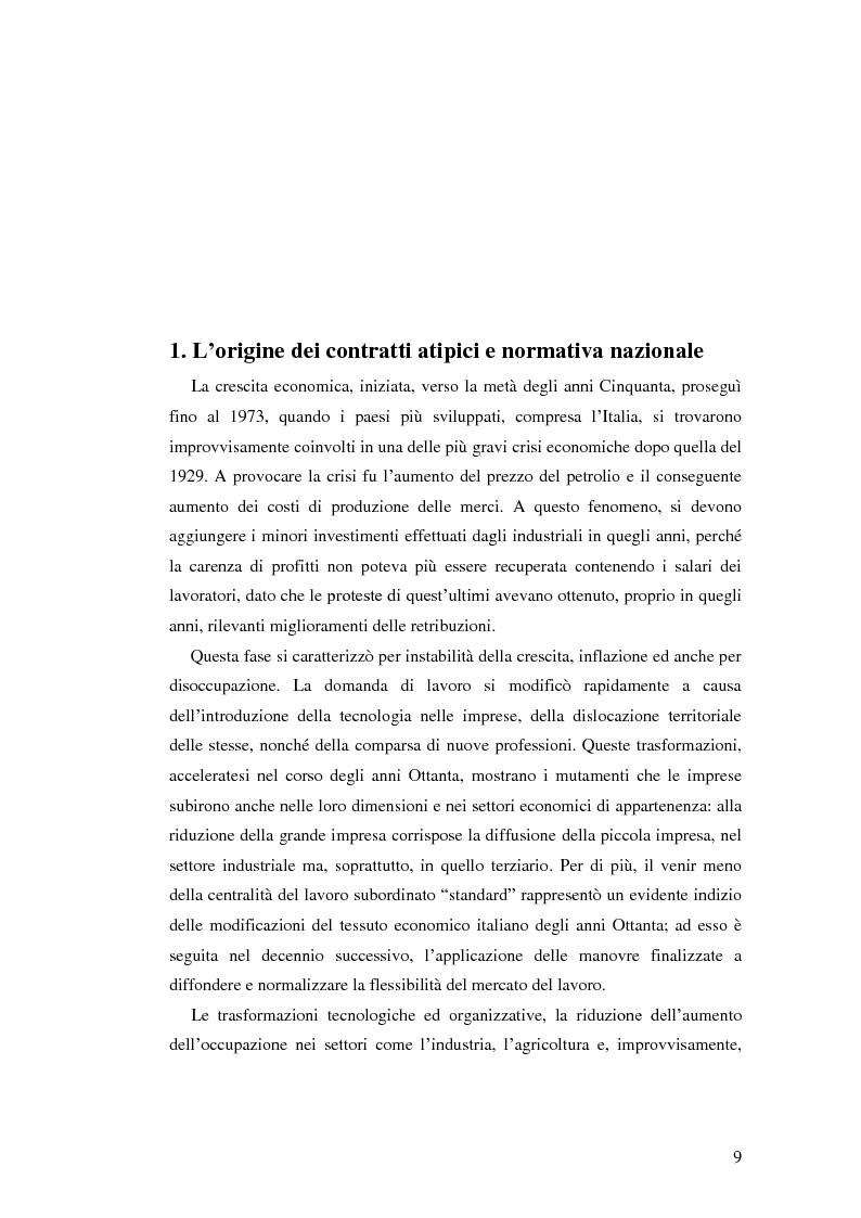 Anteprima della tesi: La diffusione dei contratti atipici: costi e benefici, Pagina 8