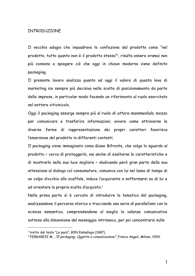 Anteprima della tesi: Comunicare con il packaging: le scelte in ambito semiotico dell'azienda agricola Trabucchi., Pagina 2