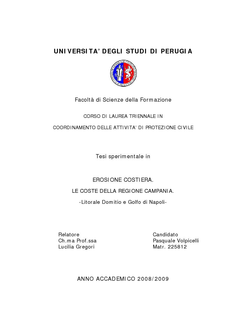 Anteprima della tesi: Erosione costiera. Le coste della Regione Campania - Litorale Domitio e Golfo di Napoli, Pagina 1