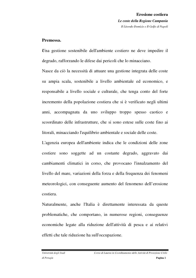 Anteprima della tesi: Erosione costiera. Le coste della Regione Campania - Litorale Domitio e Golfo di Napoli, Pagina 2