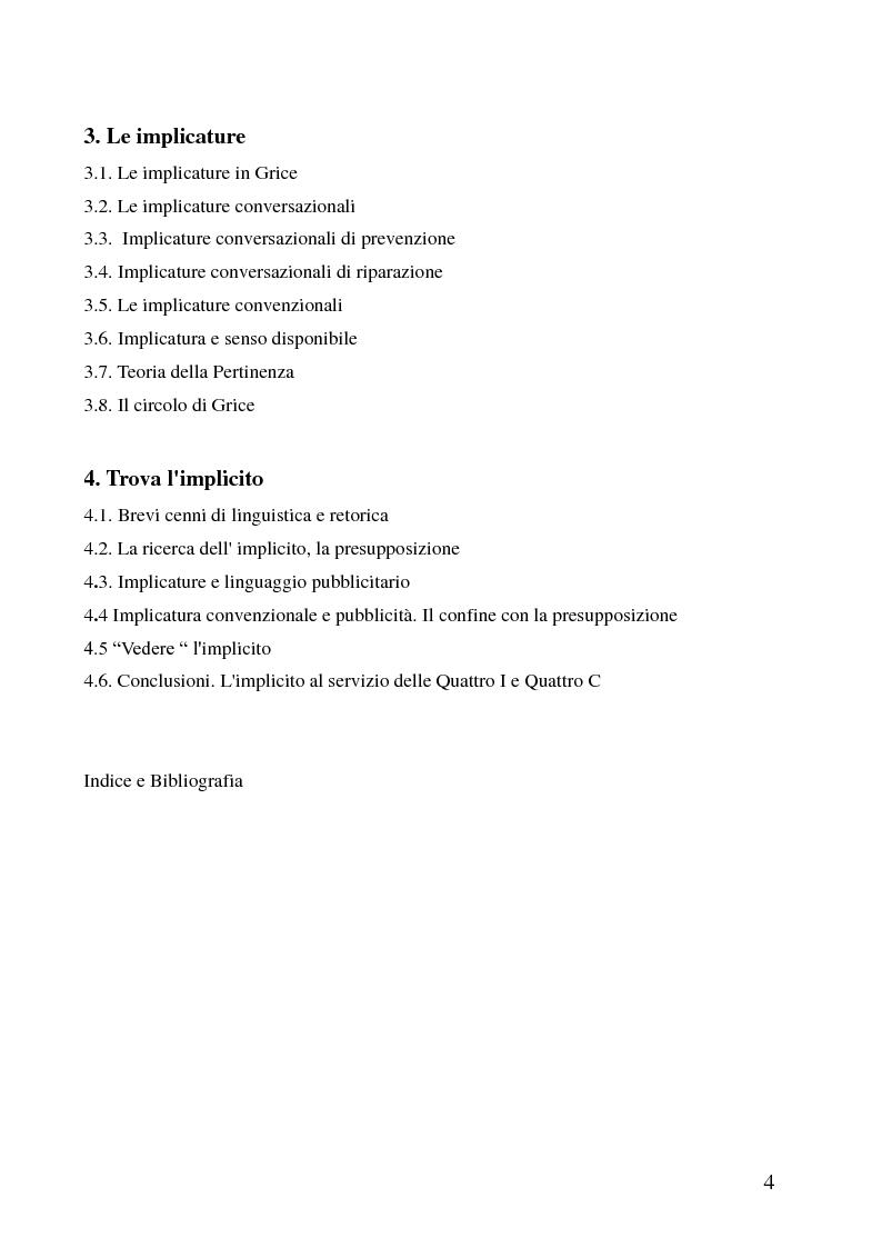 Indice della tesi: Presupposizione e Pubblicità, Pagina 2
