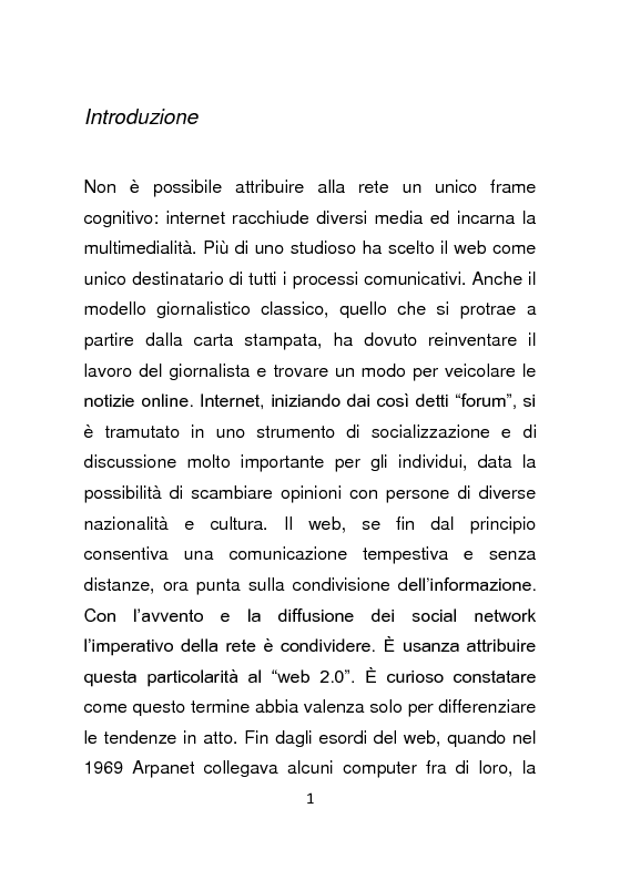 Giornalismo e social network : l'informazione a due stadi - Tesi di Laurea