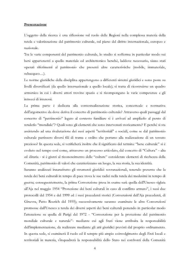 Anteprima della tesi: Le Regioni e il patrimonio culturale nel diritto internazionale, europeo e nazionale. Casi di studio e comparazione tra Italia, Francia e Spagna, Pagina 4