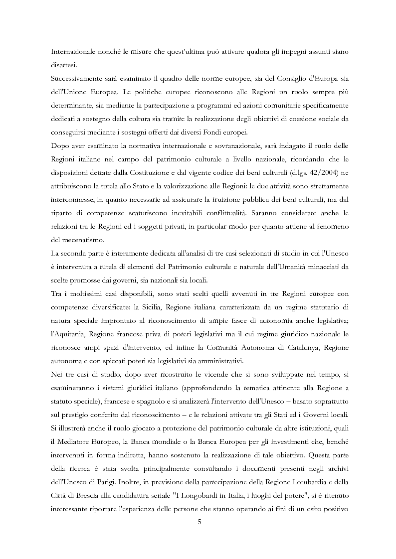 Anteprima della tesi: Le Regioni e il patrimonio culturale nel diritto internazionale, europeo e nazionale. Casi di studio e comparazione tra Italia, Francia e Spagna, Pagina 5