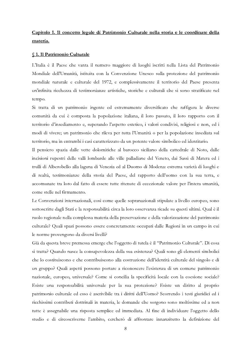 Anteprima della tesi: Le Regioni e il patrimonio culturale nel diritto internazionale, europeo e nazionale. Casi di studio e comparazione tra Italia, Francia e Spagna, Pagina 8