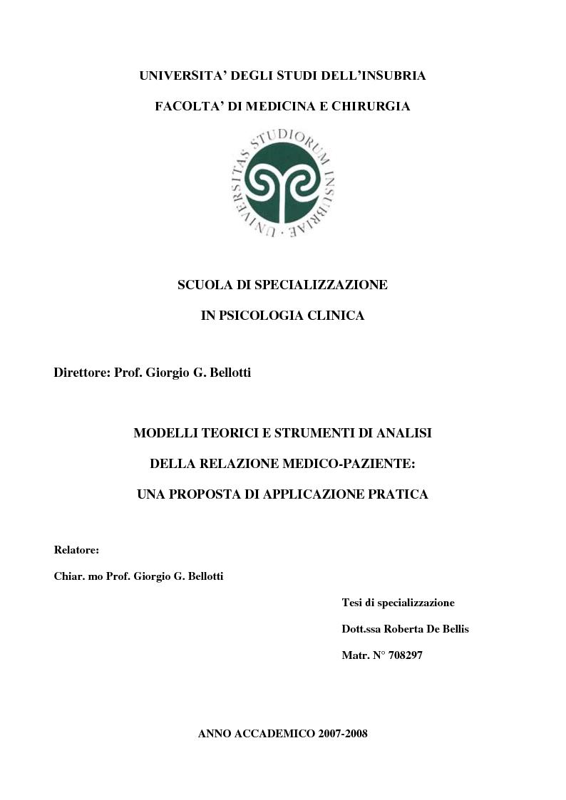 Anteprima della tesi: Modelli teorici e strumenti di analisi della relazione medico-paziente: una proposta di applicazione pratica., Pagina 1