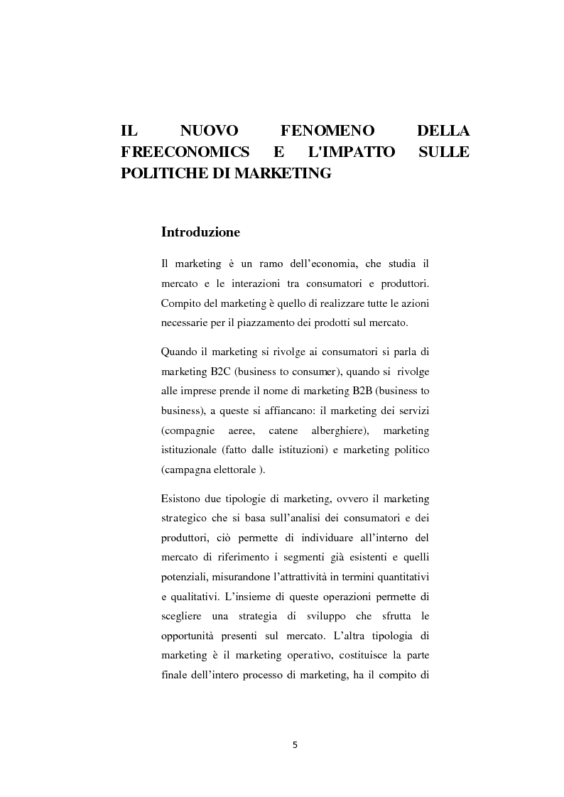 Anteprima della tesi: Il nuovo fenomeno della Freeconomics e l'impatto sulle politiche di Marketing, Pagina 2