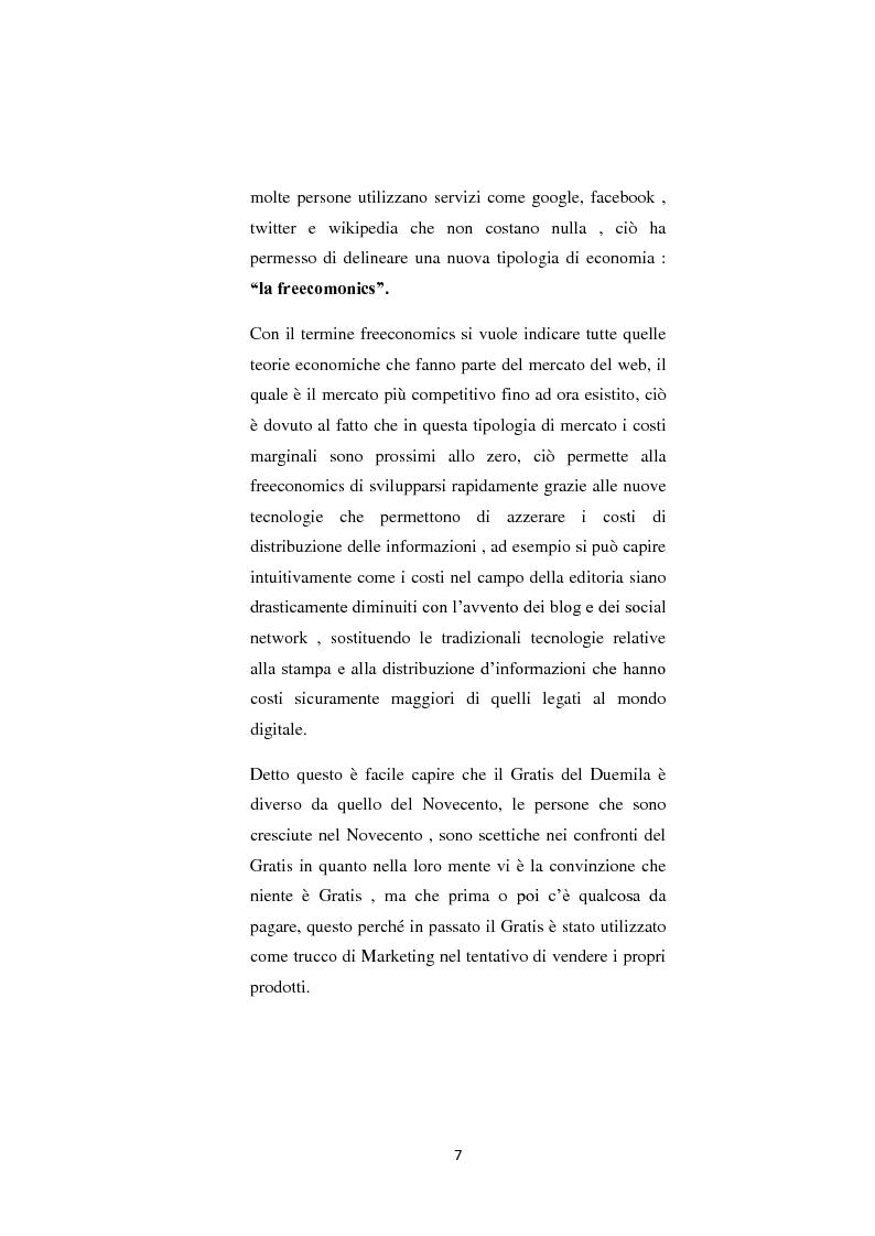 Anteprima della tesi: Il nuovo fenomeno della Freeconomics e l'impatto sulle politiche di Marketing, Pagina 4