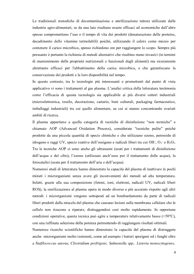 Anteprima della tesi: Primi studi nell'applicazione della tecnologia al plasma nella sterilizzazione di alimenti contaminati da funghi e batteri, Pagina 3