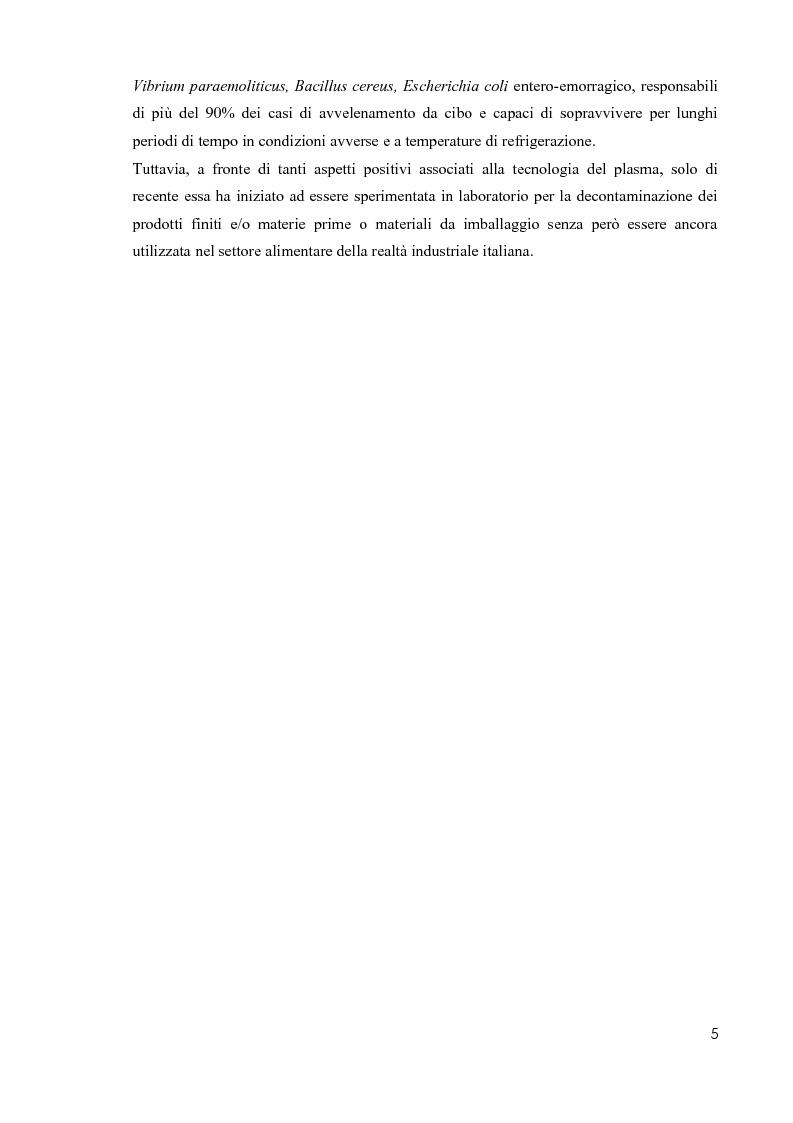 Anteprima della tesi: Primi studi nell'applicazione della tecnologia al plasma nella sterilizzazione di alimenti contaminati da funghi e batteri, Pagina 4