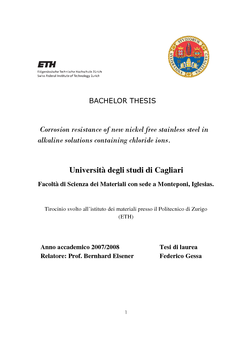 Anteprima della tesi: Corrosion resistance of new nickel free stainless steel inalkaline solutions containing chloride ions, Pagina 1