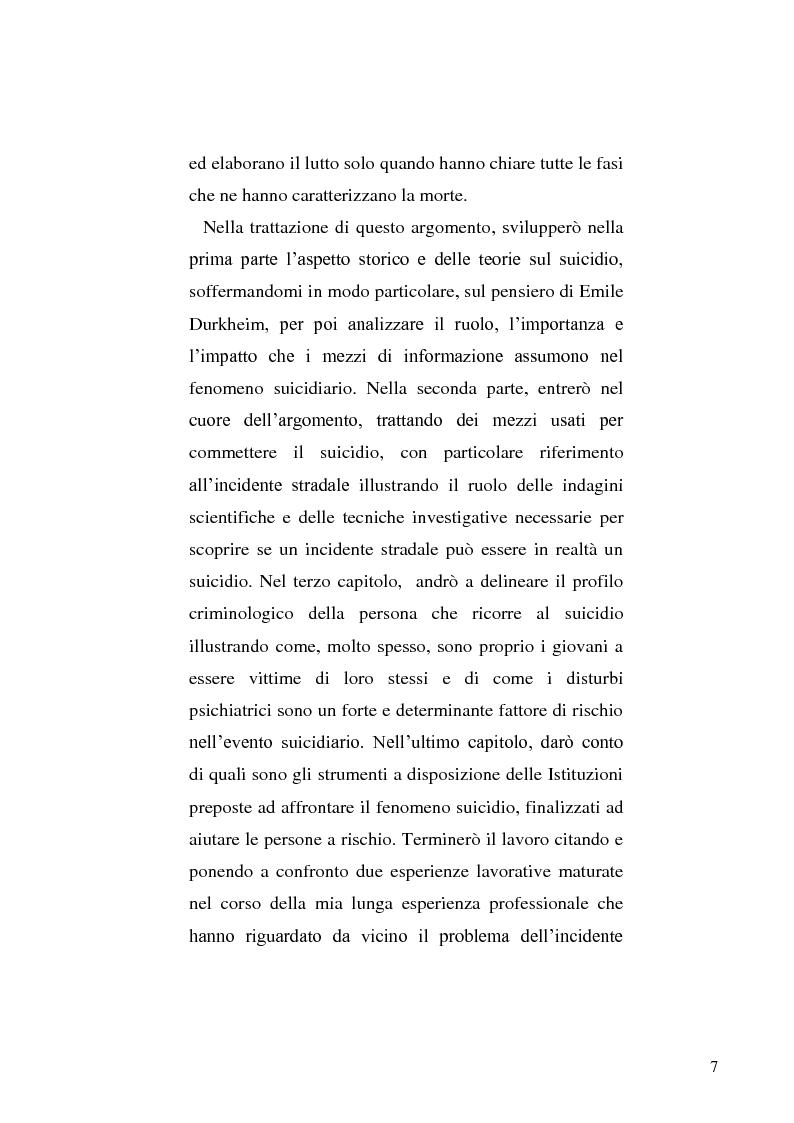 Anteprima della tesi: L'incidente stradale come mezzo di suicidio. Tecniche investigative e profilo criminologico della vittima., Pagina 4