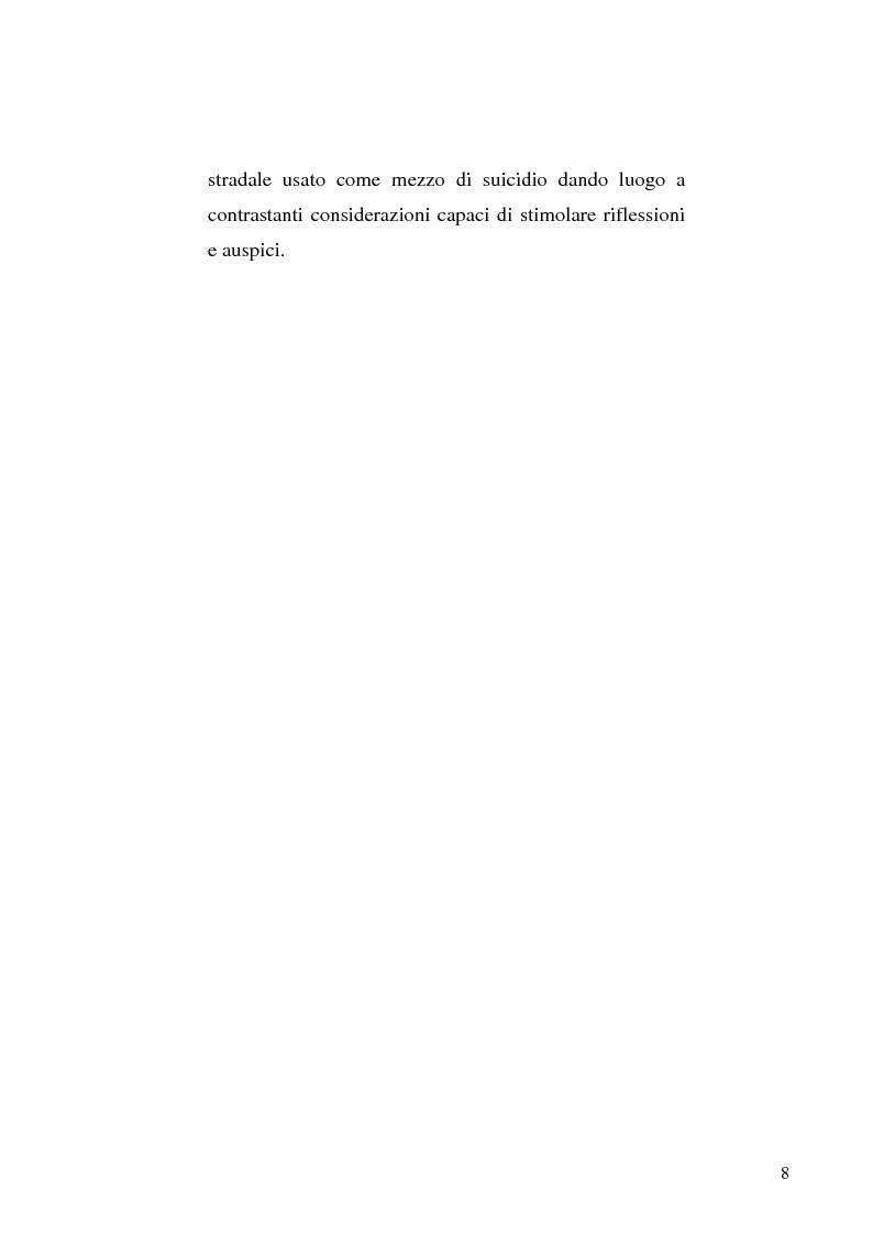 Anteprima della tesi: L'incidente stradale come mezzo di suicidio. Tecniche investigative e profilo criminologico della vittima., Pagina 5