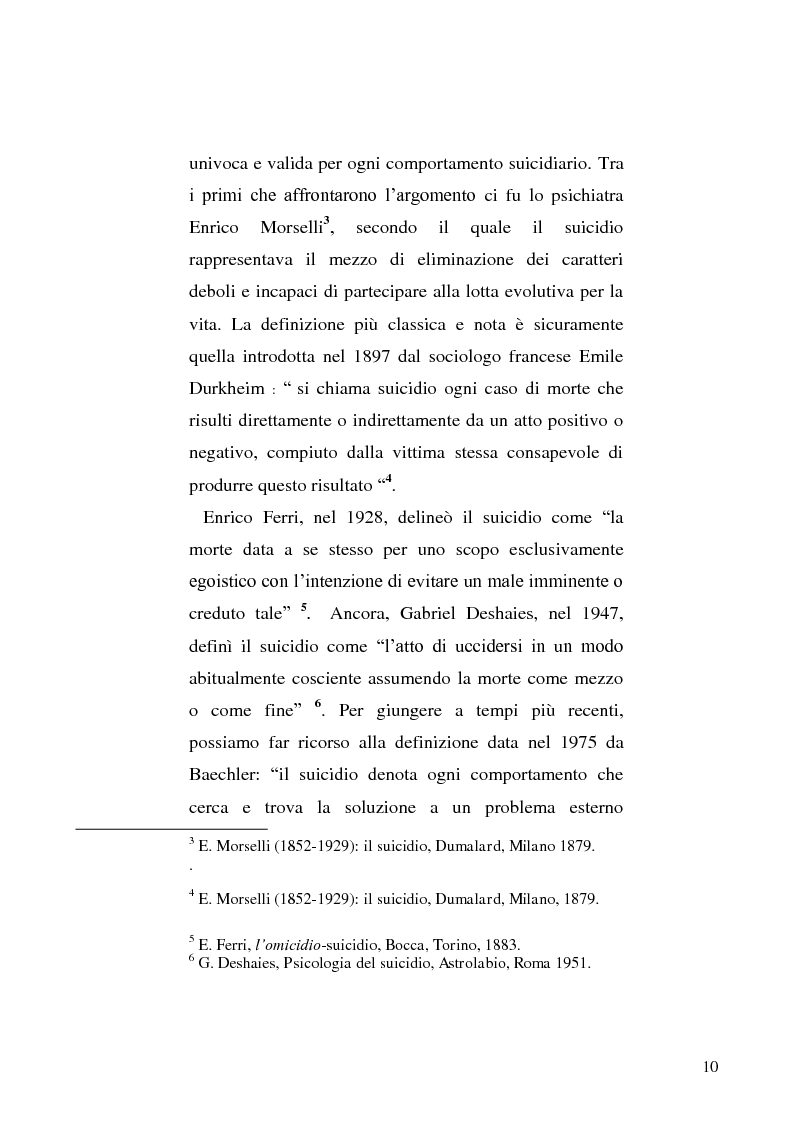 Anteprima della tesi: L'incidente stradale come mezzo di suicidio. Tecniche investigative e profilo criminologico della vittima., Pagina 7