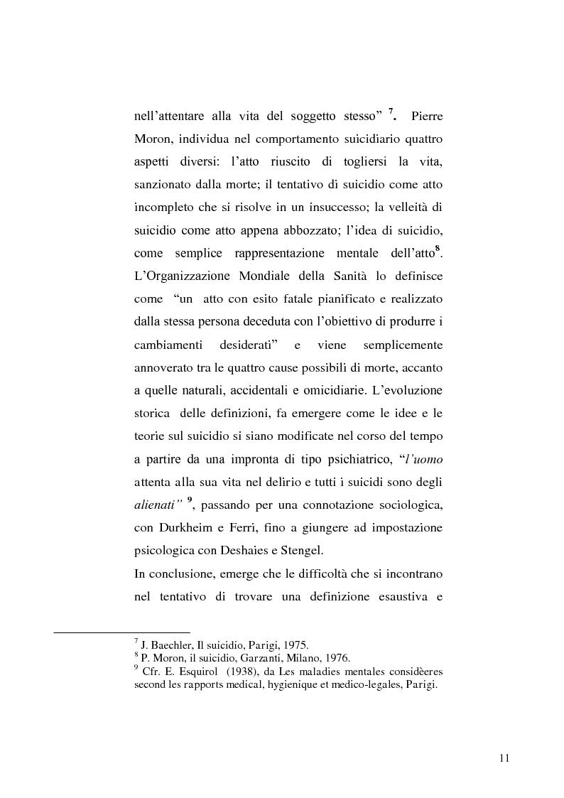 Anteprima della tesi: L'incidente stradale come mezzo di suicidio. Tecniche investigative e profilo criminologico della vittima., Pagina 8