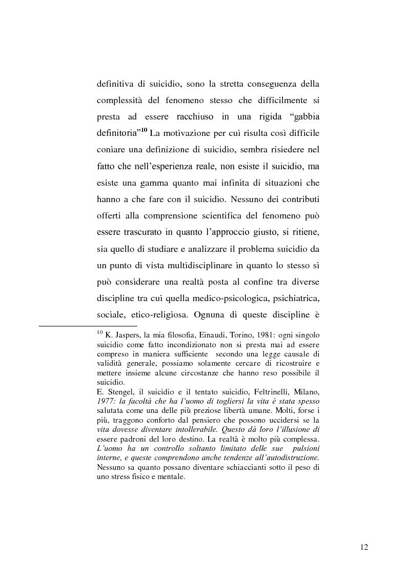 Anteprima della tesi: L'incidente stradale come mezzo di suicidio. Tecniche investigative e profilo criminologico della vittima., Pagina 9
