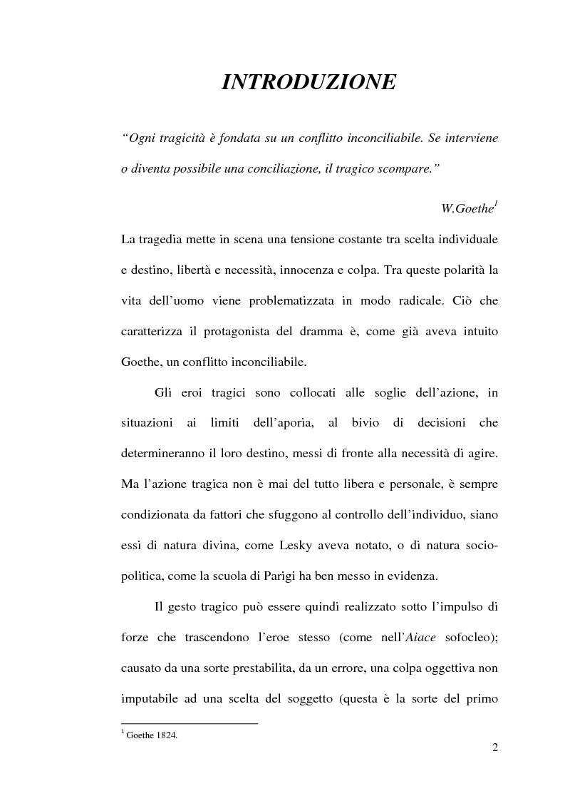 Anteprima della tesi: La scelta tragica e la concezione della colpa: il mito di Edipo e l'Agamennone di Eschilo., Pagina 2