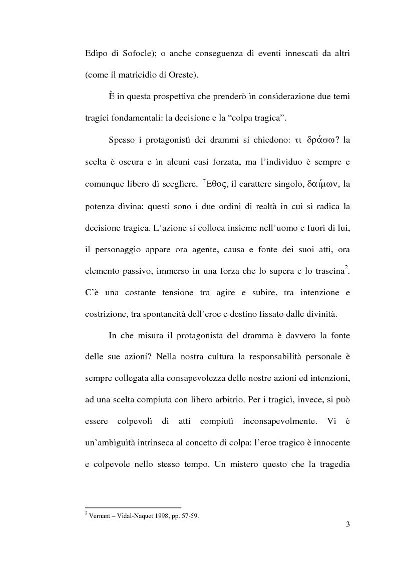 Anteprima della tesi: La scelta tragica e la concezione della colpa: il mito di Edipo e l'Agamennone di Eschilo., Pagina 3