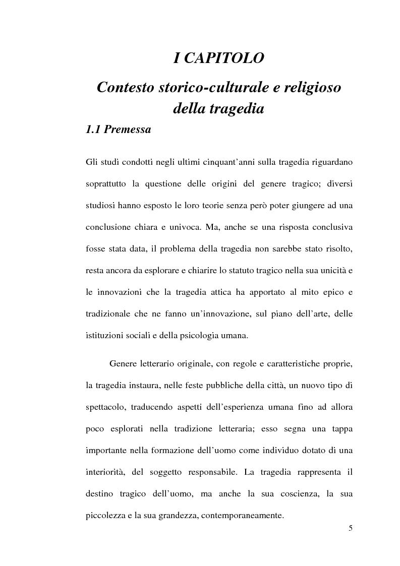 Anteprima della tesi: La scelta tragica e la concezione della colpa: il mito di Edipo e l'Agamennone di Eschilo., Pagina 5
