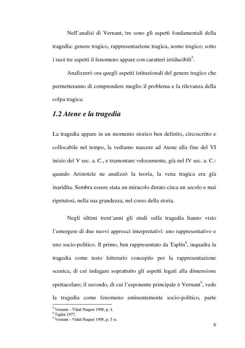 Anteprima della tesi: La scelta tragica e la concezione della colpa: il mito di Edipo e l'Agamennone di Eschilo., Pagina 6