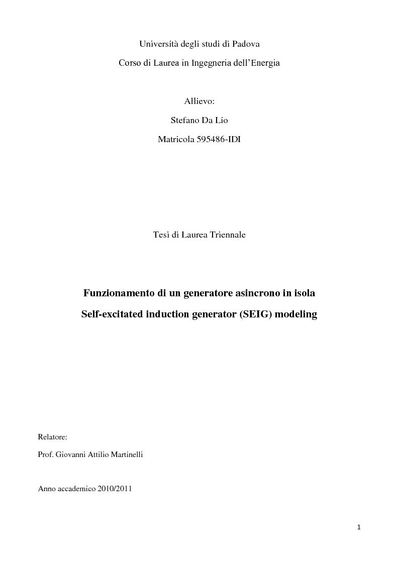 Anteprima della tesi: Funzionamento di un generatore asincrono in isola, Pagina 1
