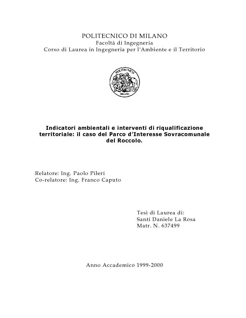 Indice della tesi: Indicatori ambientali e interventi di riqualificazione territoriale: il caso del Parco d'Interesse Sovracomunale del Roccolo, Pagina 1