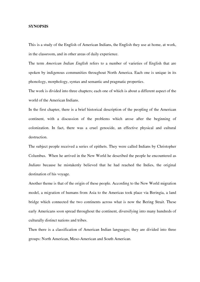 Anteprima della tesi: American Indian English: storia e caratteristiche, Pagina 2