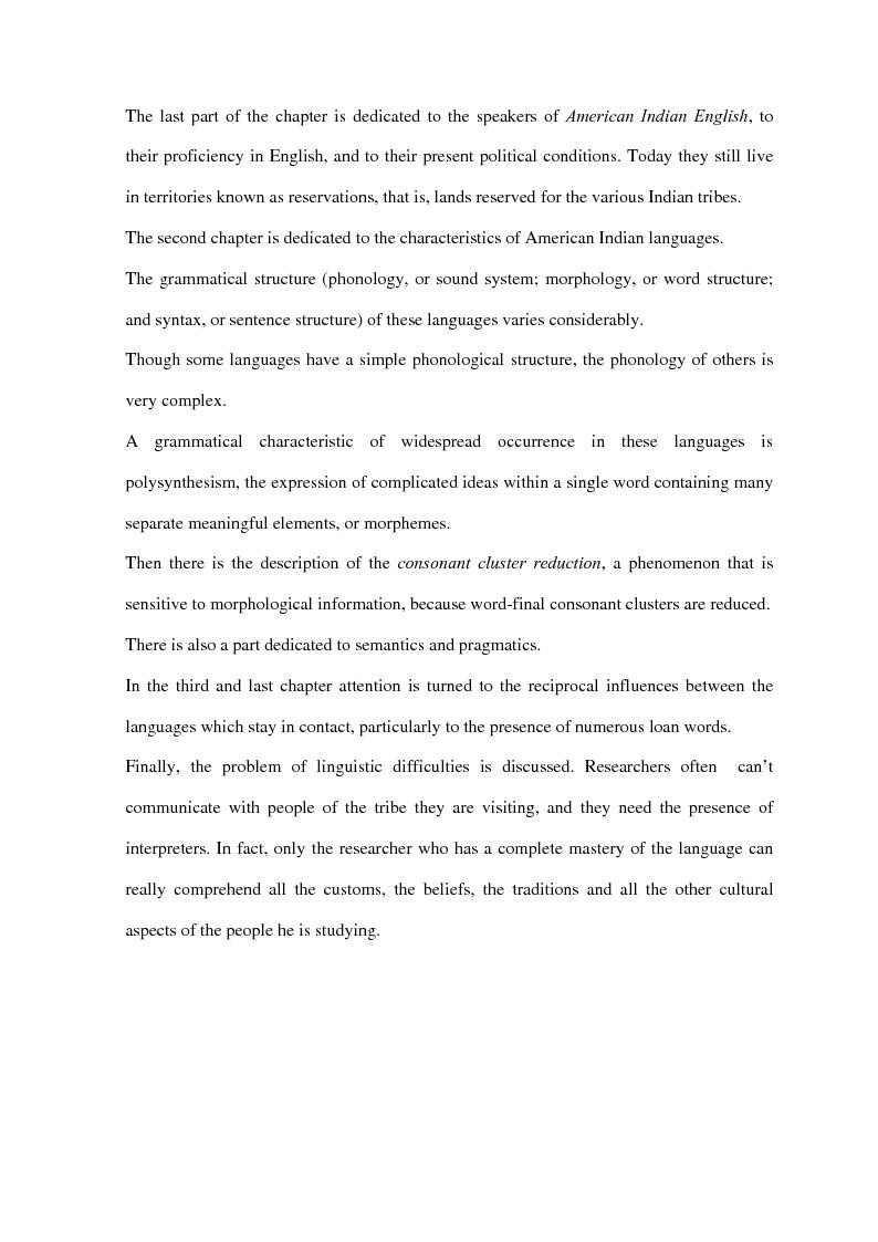 Anteprima della tesi: American Indian English: storia e caratteristiche, Pagina 3