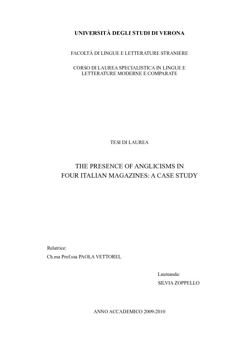 Anteprima della tesi: The Presence of Anglicisms in four italian Magazines: a Case Study, Pagina 1