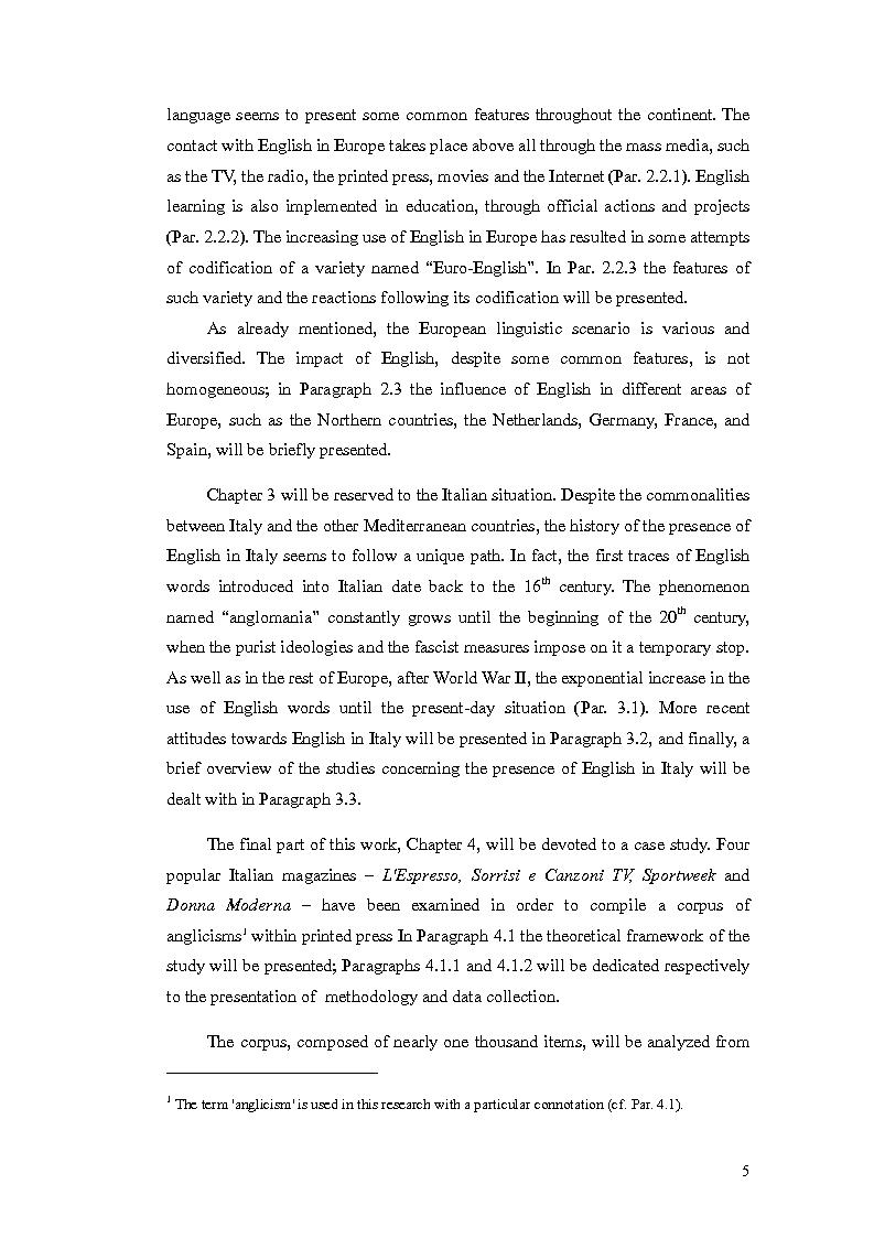 Anteprima della tesi: The Presence of Anglicisms in four italian Magazines: a Case Study, Pagina 4