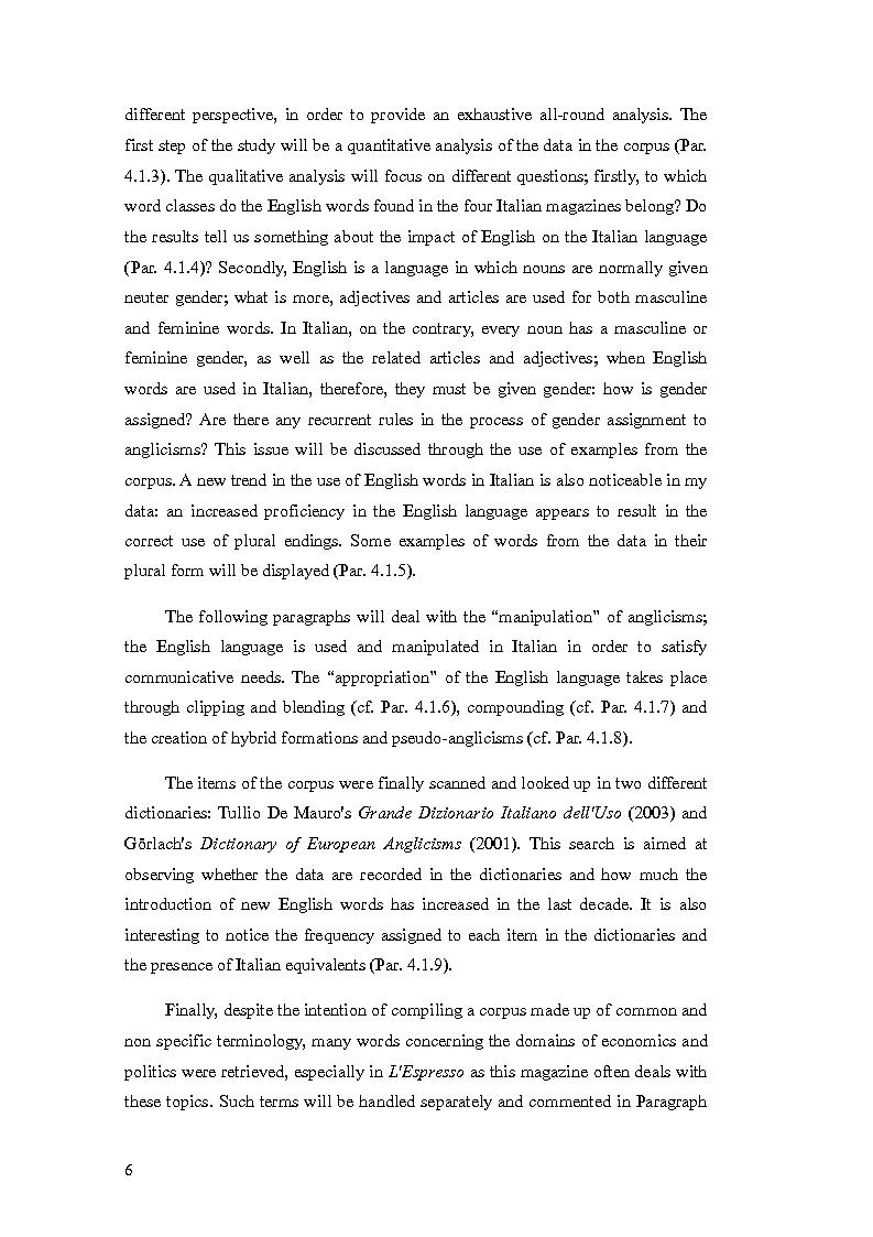 Anteprima della tesi: The Presence of Anglicisms in four italian Magazines: a Case Study, Pagina 5
