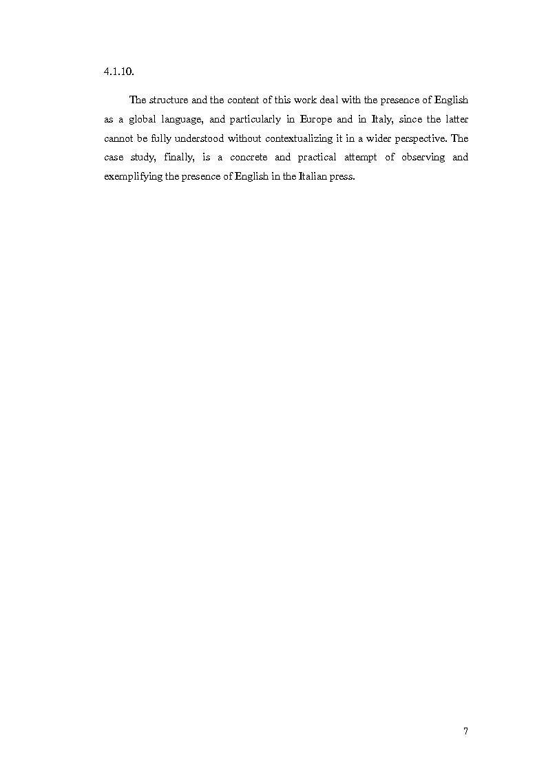 Anteprima della tesi: The Presence of Anglicisms in four italian Magazines: a Case Study, Pagina 6