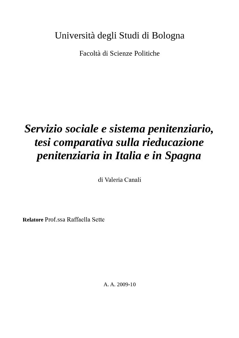 Anteprima della tesi: Servizio sociale e sistema penitenziario, tesi comparativa sulla rieducazione penitenziaria in Italia e in Spagna, Pagina 1