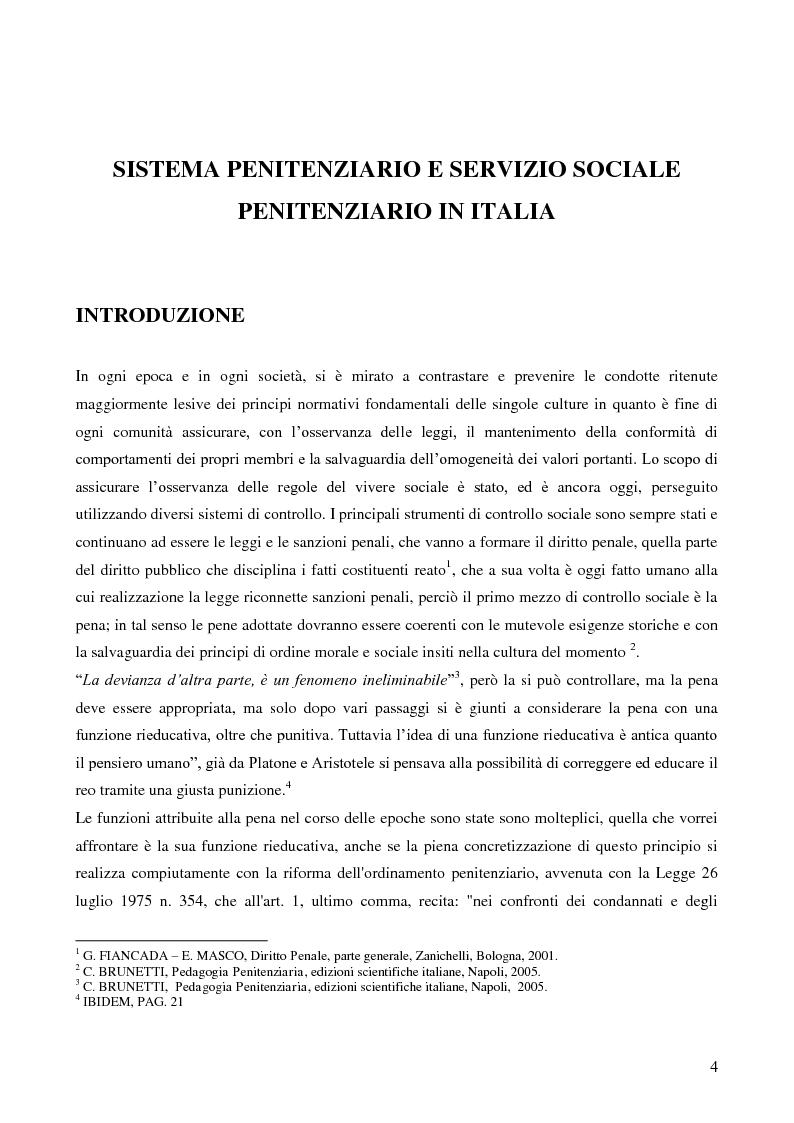 Anteprima della tesi: Servizio sociale e sistema penitenziario, tesi comparativa sulla rieducazione penitenziaria in Italia e in Spagna, Pagina 4