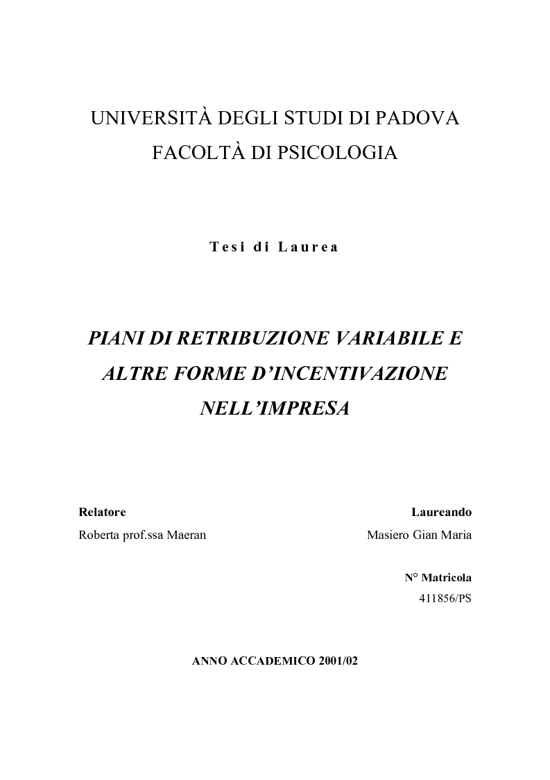 Anteprima della tesi: Piani di retribuzione variabile e altre forme d'incentivazione nell'impresa, Pagina 1