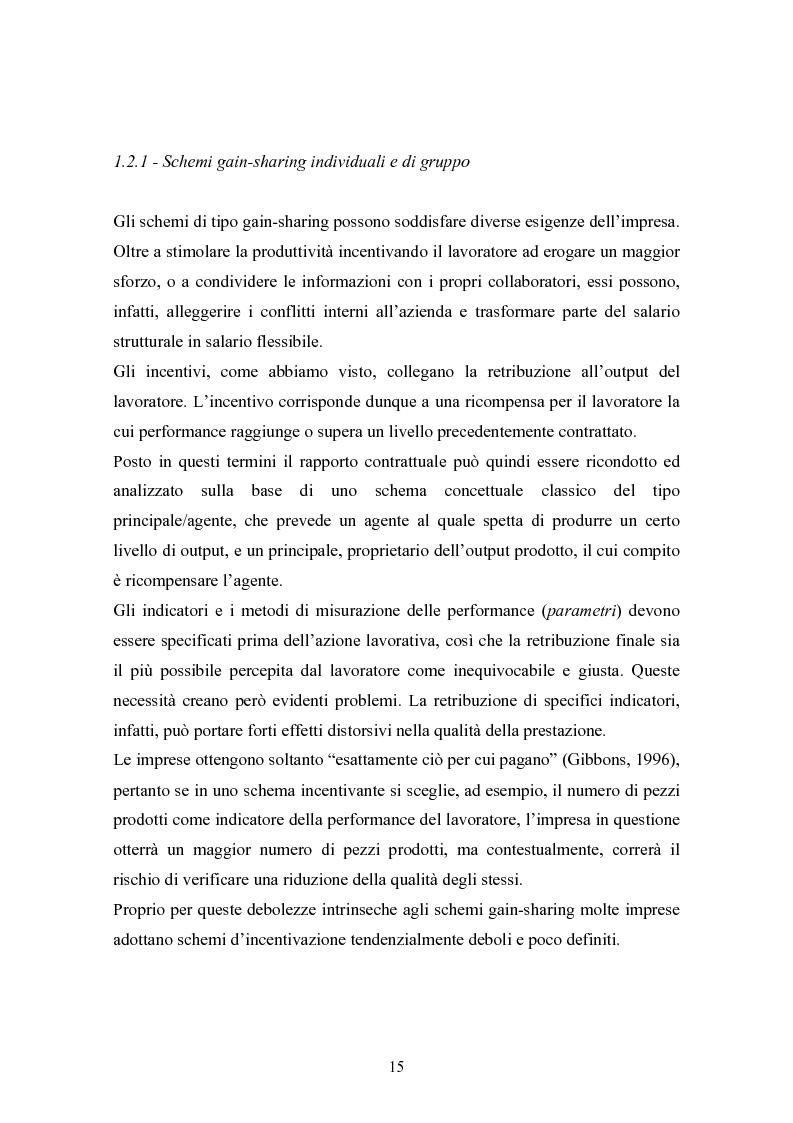 Anteprima della tesi: Piani di retribuzione variabile e altre forme d'incentivazione nell'impresa, Pagina 10