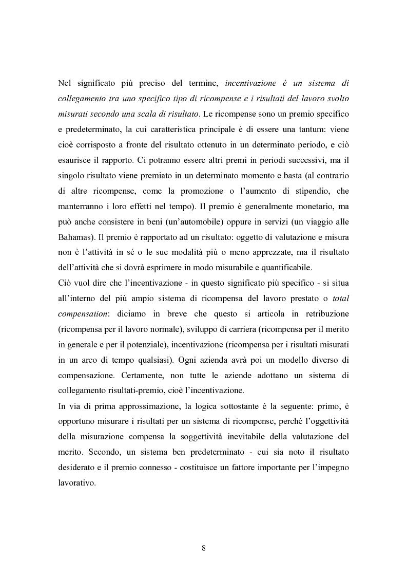 Anteprima della tesi: Piani di retribuzione variabile e altre forme d'incentivazione nell'impresa, Pagina 3
