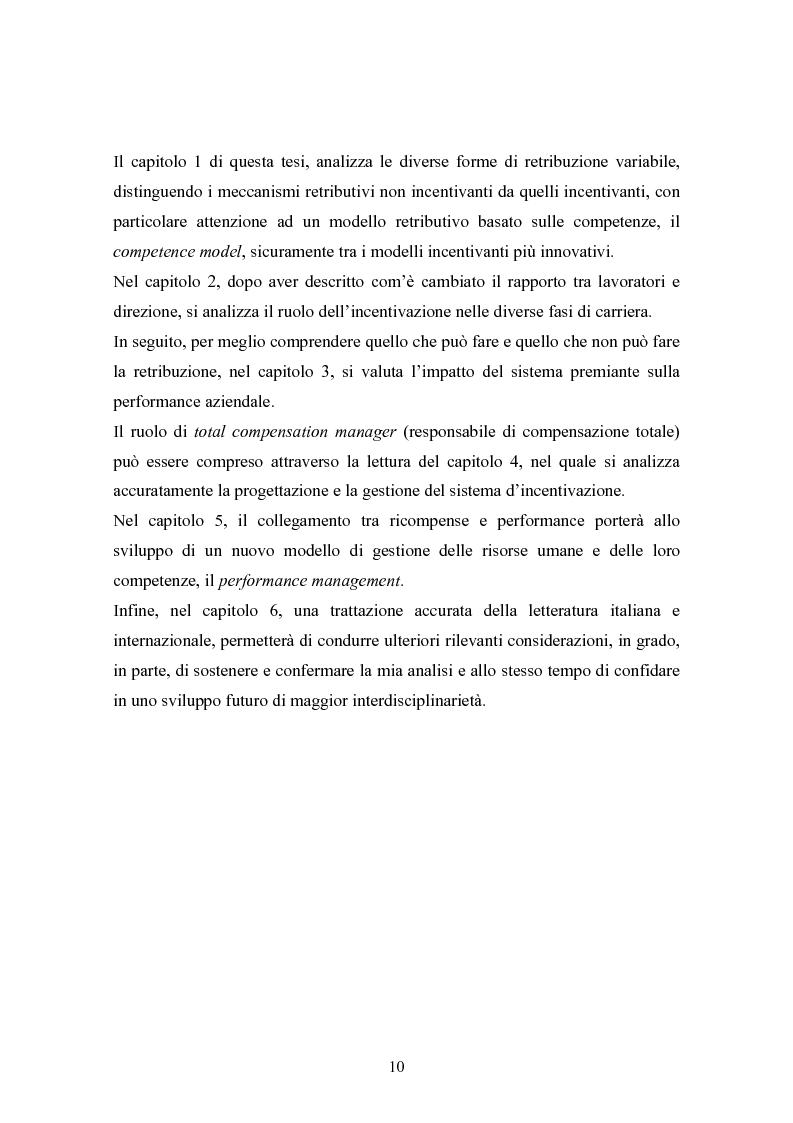 Anteprima della tesi: Piani di retribuzione variabile e altre forme d'incentivazione nell'impresa, Pagina 5
