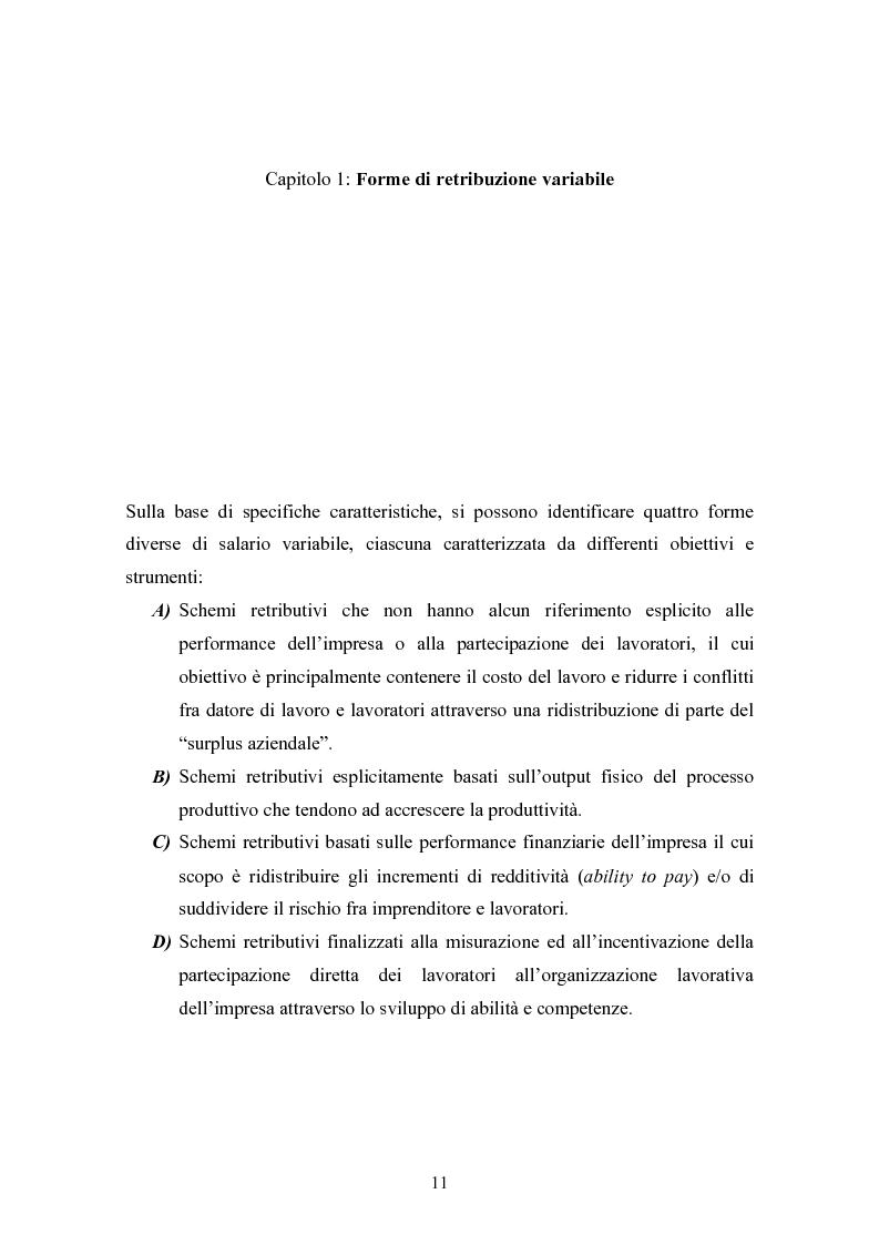 Anteprima della tesi: Piani di retribuzione variabile e altre forme d'incentivazione nell'impresa, Pagina 6