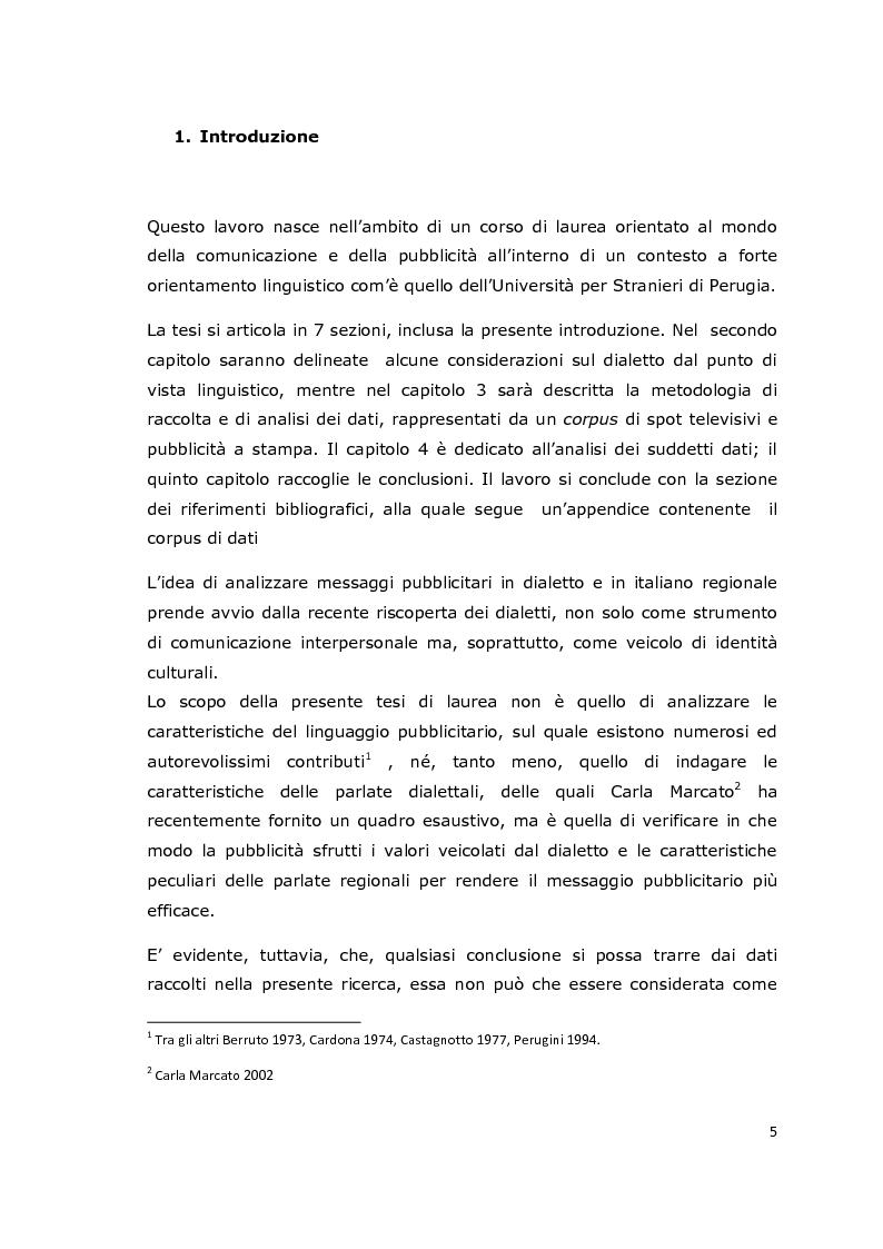 Anteprima della tesi: Usi e funzioni del dialetto e delle varietà di italiano regionale in pubblicità: analisi di un corpus, Pagina 2