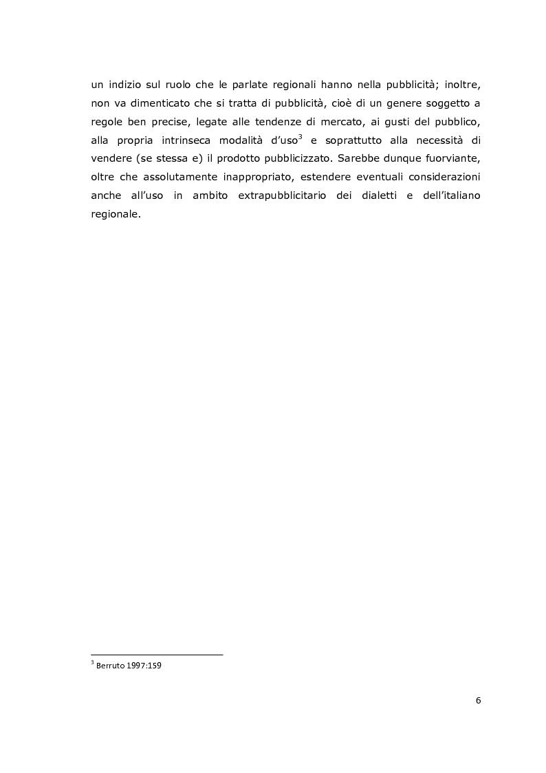 Anteprima della tesi: Usi e funzioni del dialetto e delle varietà di italiano regionale in pubblicità: analisi di un corpus, Pagina 3