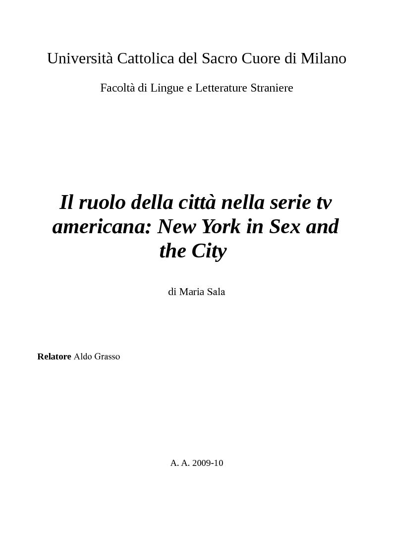 Anteprima della tesi: Il ruolo della città nella serie tv americana: New York in Sex and the City, Pagina 1