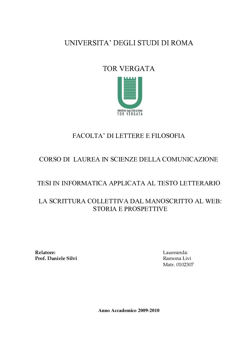 Anteprima della tesi: La Scrittura Collettiva dal manoscritto al web: storia e prospettive, Pagina 1